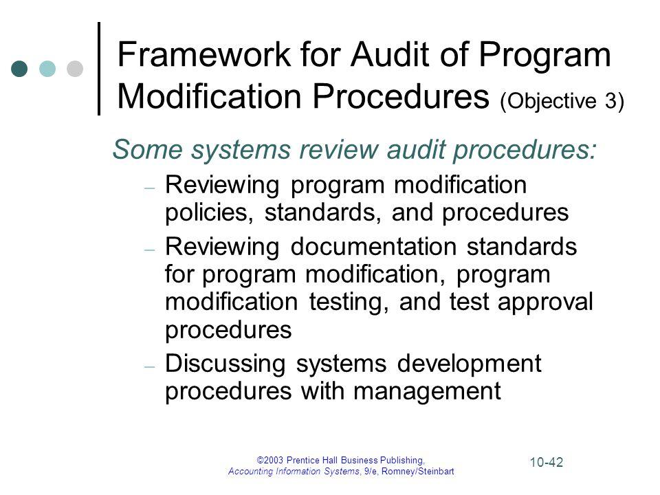 Framework for Audit of Program Modification Procedures (Objective 3)
