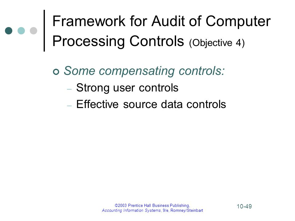 Framework for Audit of Computer Processing Controls (Objective 4)
