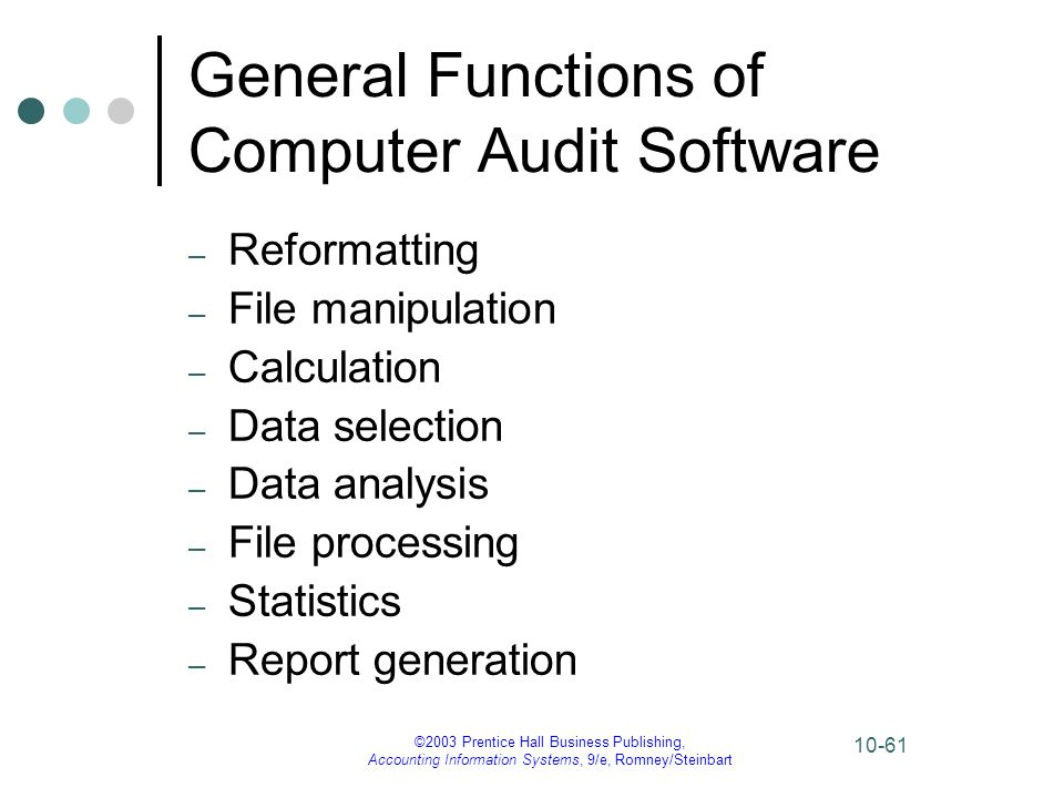 General Functions of Computer Audit Software