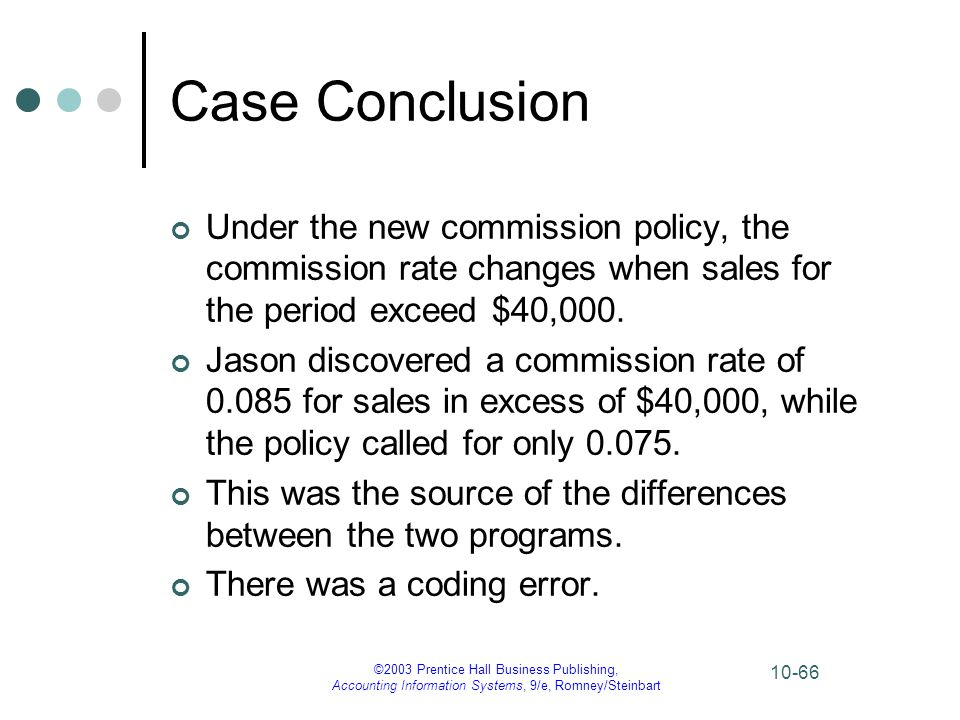 Case Conclusion Under the new commission policy, the commission rate changes when sales for the period exceed $40,000.