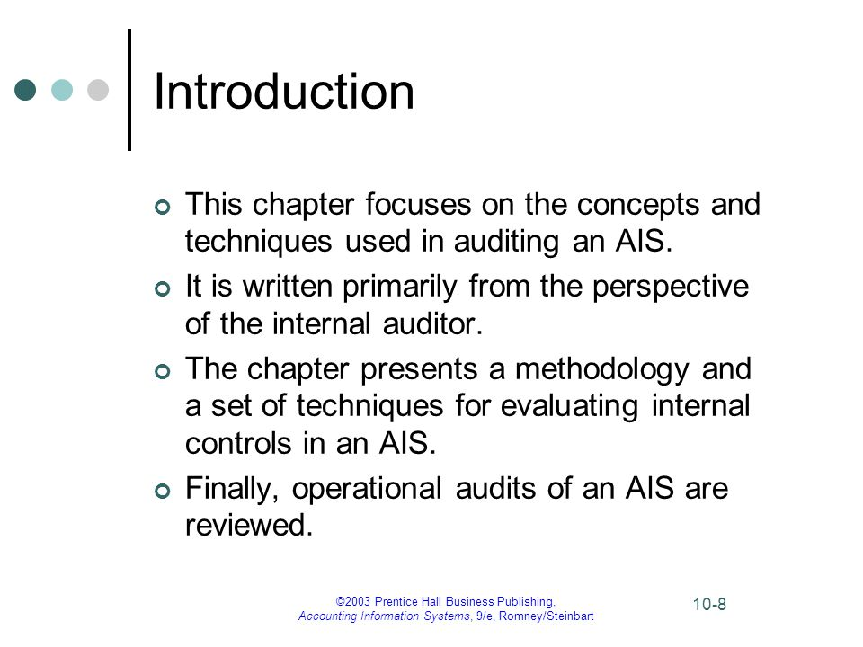 Introduction This chapter focuses on the concepts and techniques used in auditing an AIS.