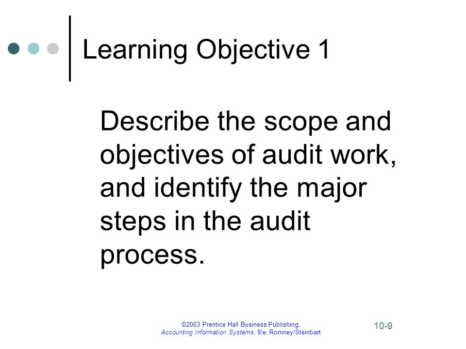 Learning Objective 1 Describe the scope and objectives of audit work, and identify the major steps in the audit process.
