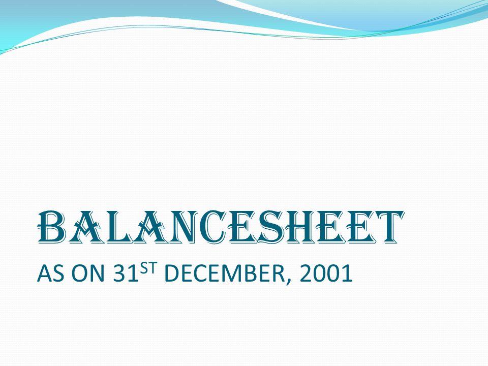 BALANCESHEET AS ON 31ST DECEMBER, 2001