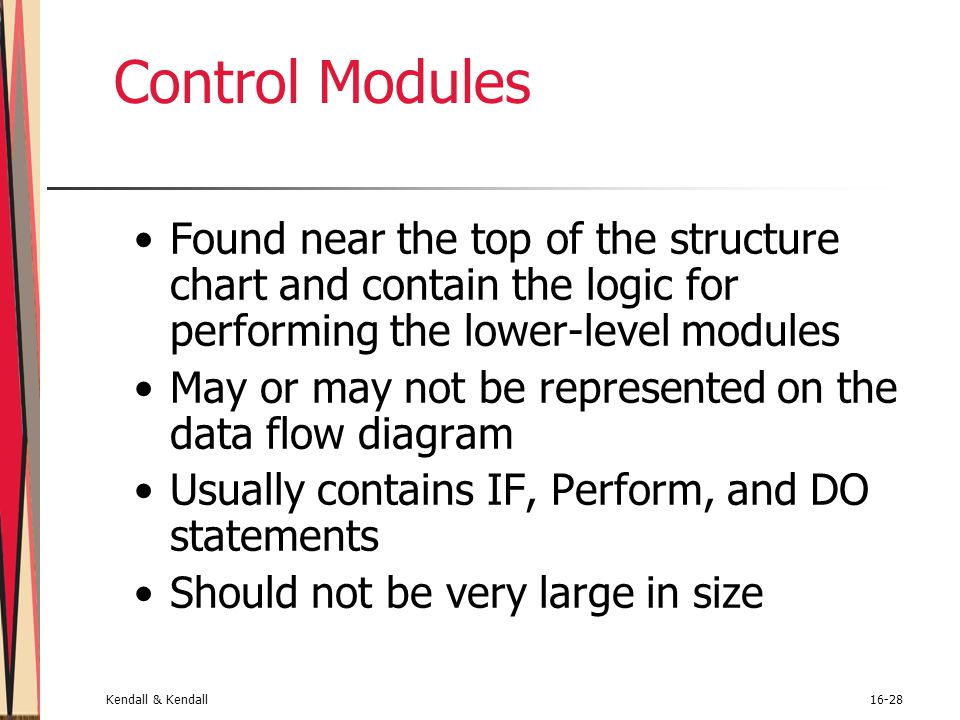 Control Modules Found near the top of the structure chart and contain the logic for performing the lower-level modules.