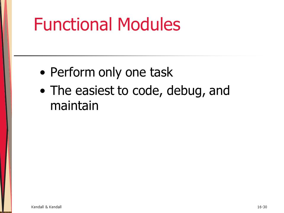 Functional Modules Perform only one task