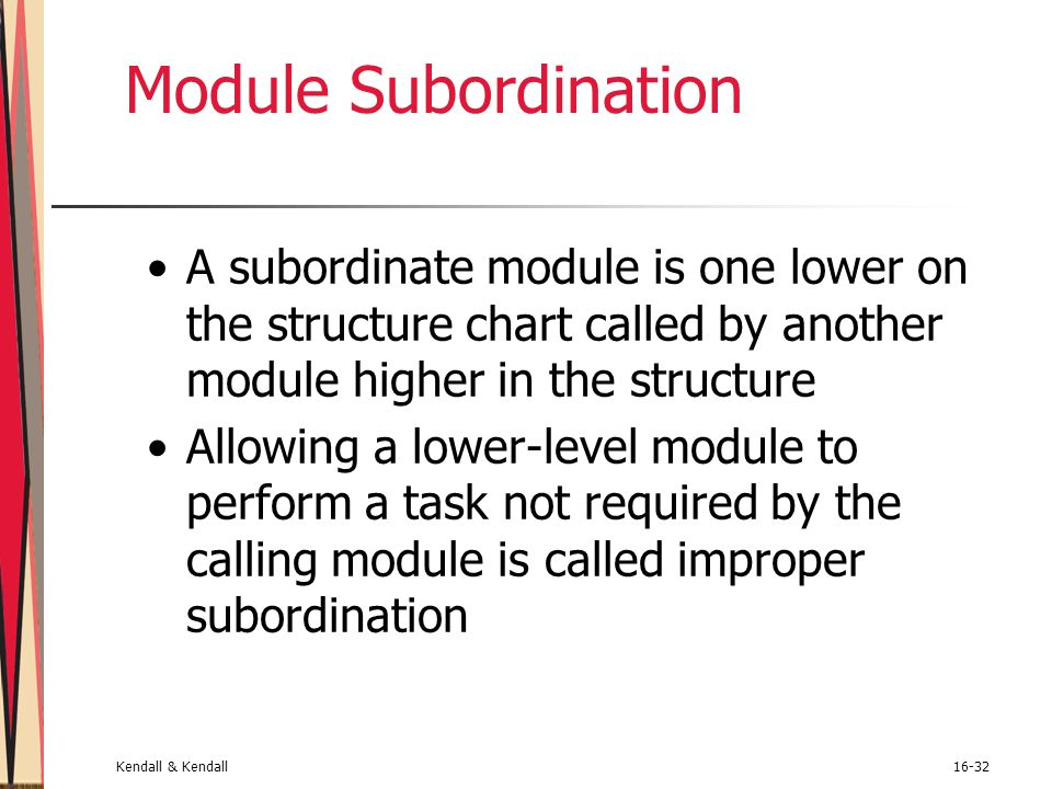 Module Subordination A subordinate module is one lower on the structure chart called by another module higher in the structure.