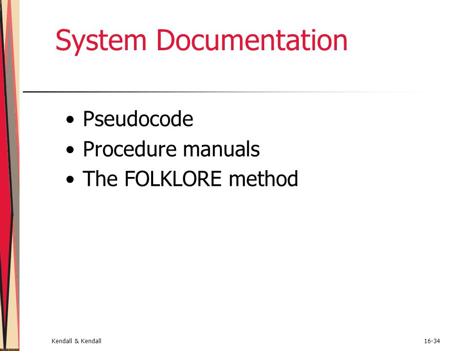 System Documentation Pseudocode Procedure manuals The FOLKLORE method