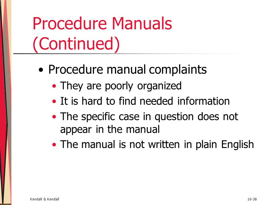 Procedure Manuals (Continued)