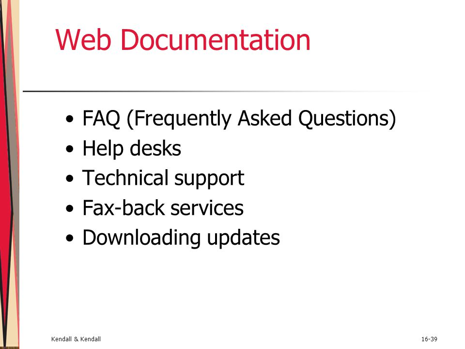 Web Documentation FAQ (Frequently Asked Questions) Help desks