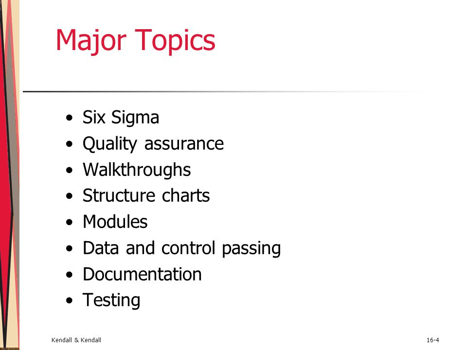 Major Topics Six Sigma Quality assurance Walkthroughs Structure charts