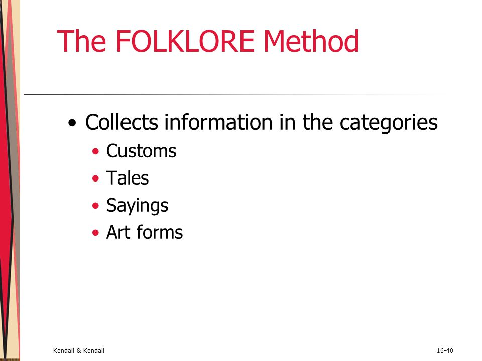 The FOLKLORE Method Collects information in the categories Customs