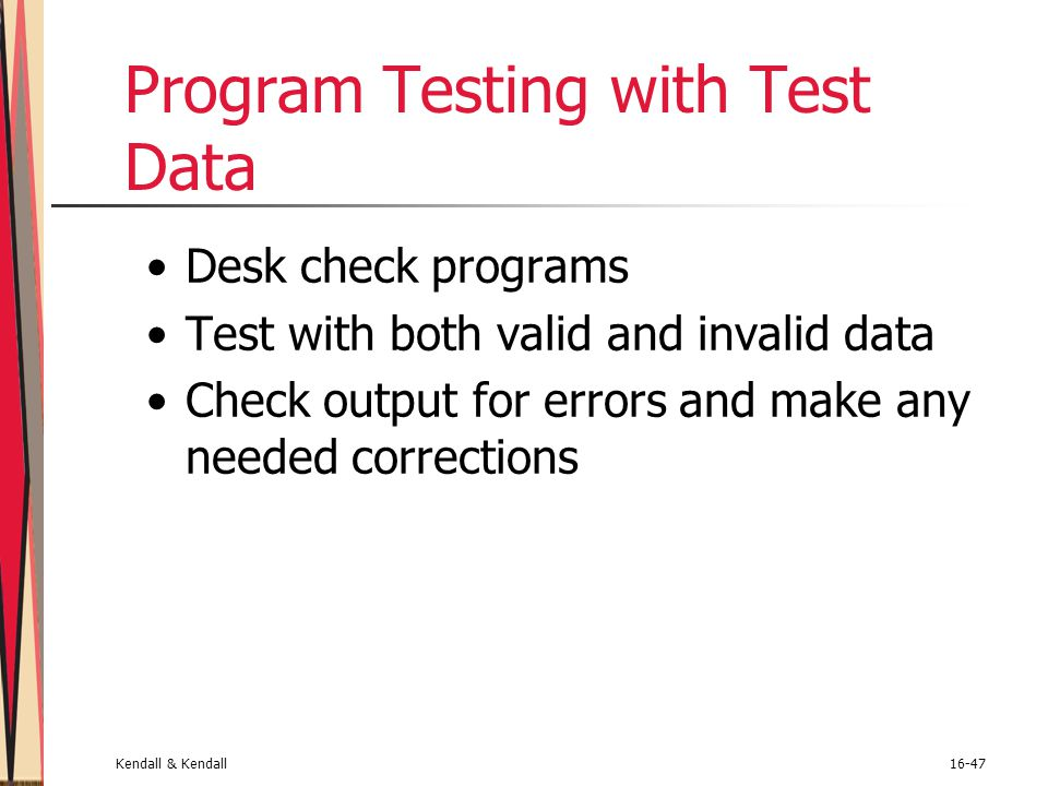 Program Testing with Test Data