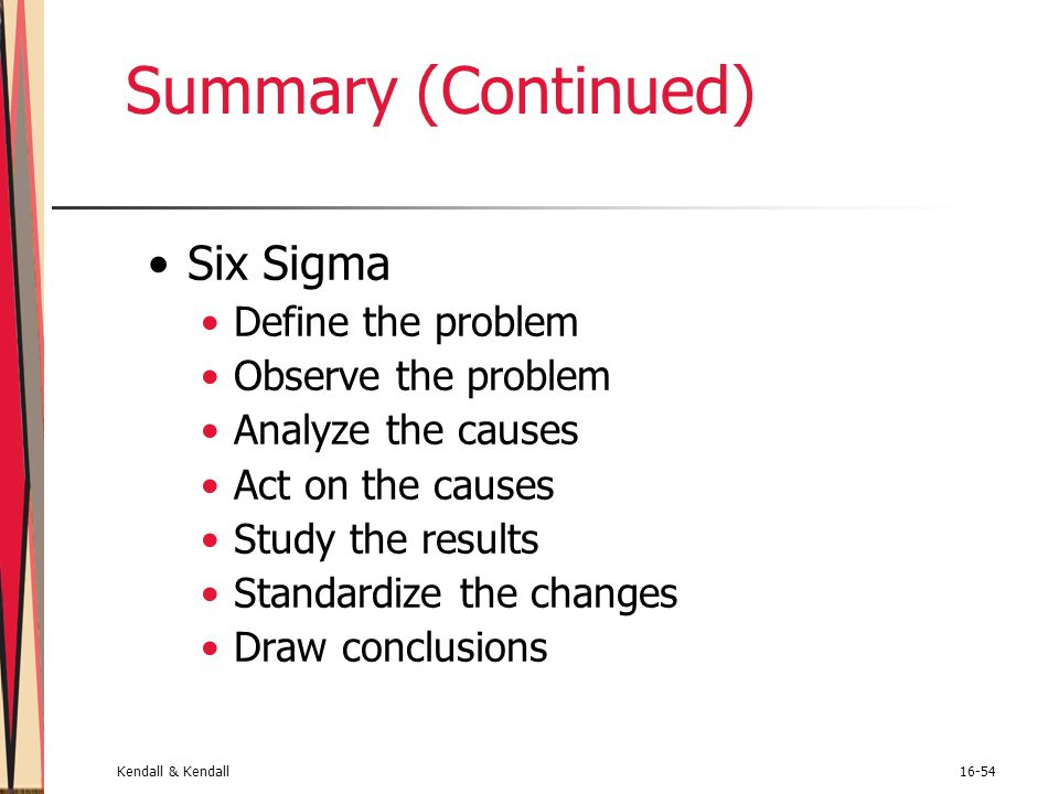 Summary (Continued) Six Sigma Define the problem Observe the problem