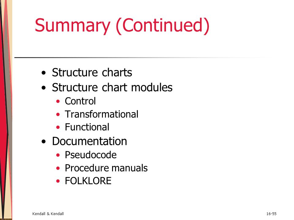 Summary (Continued) Structure charts Structure chart modules