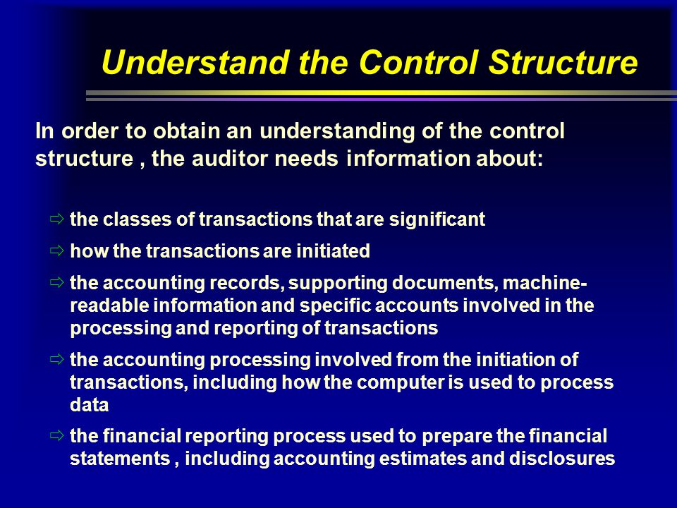 Understand the Control Structure