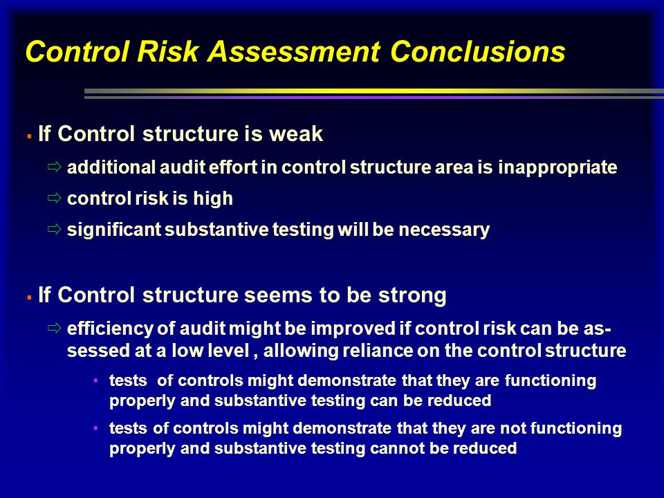 Control Risk Assessment Conclusions