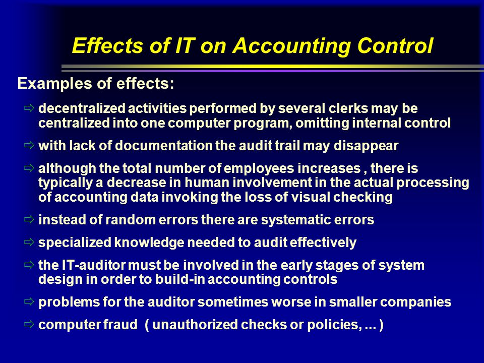 Effects of IT on Accounting Control