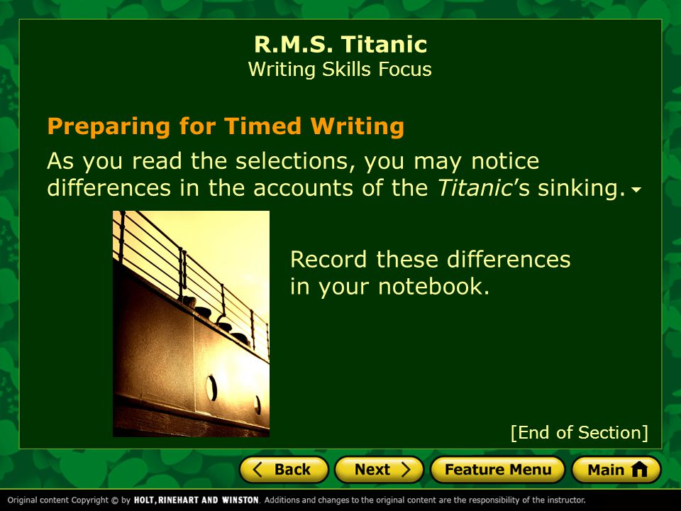 R.M.S. Titanic Writing Skills Focus
