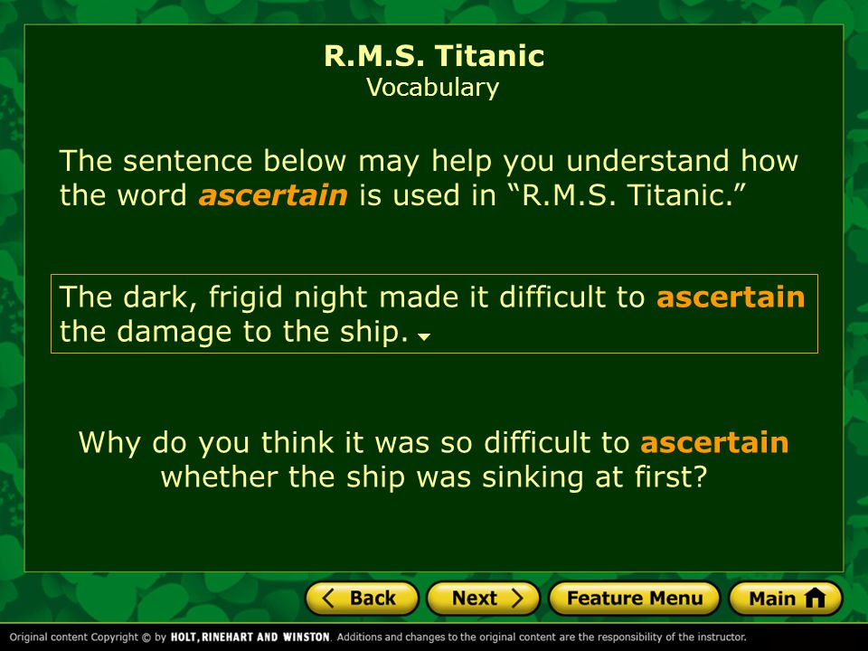 R.M.S. Titanic Vocabulary