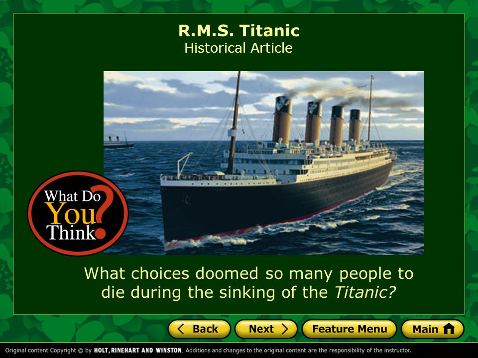 R.M.S. Titanic Historical Article.