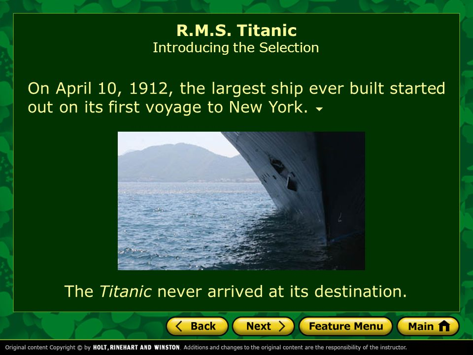 R.M.S. Titanic Introducing the Selection