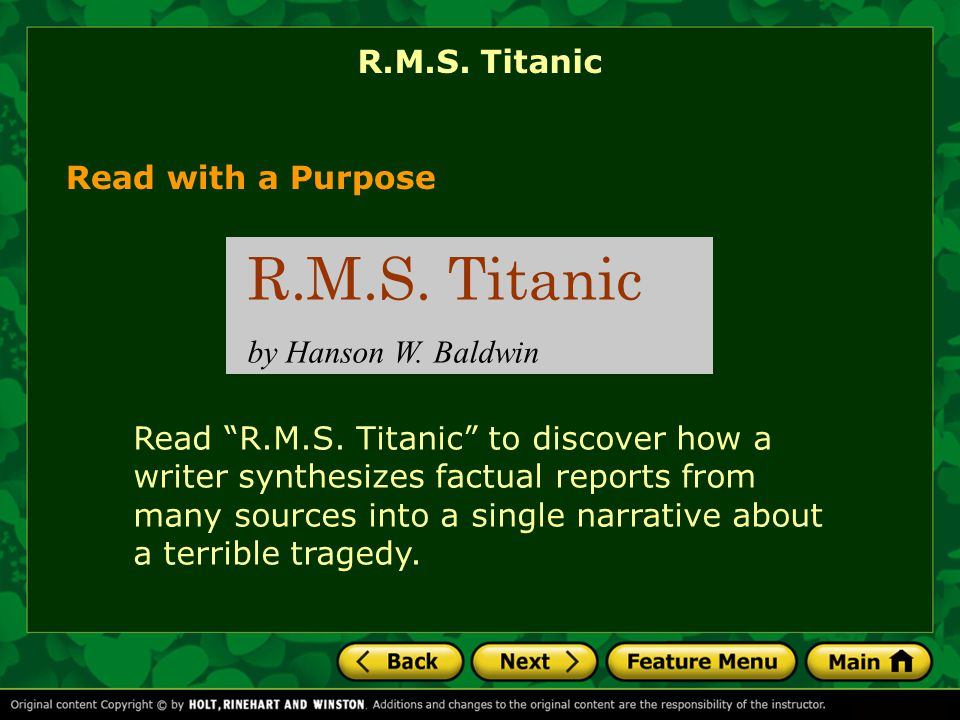 R.M.S. Titanic R.M.S. Titanic Read with a Purpose by Hanson W. Baldwin