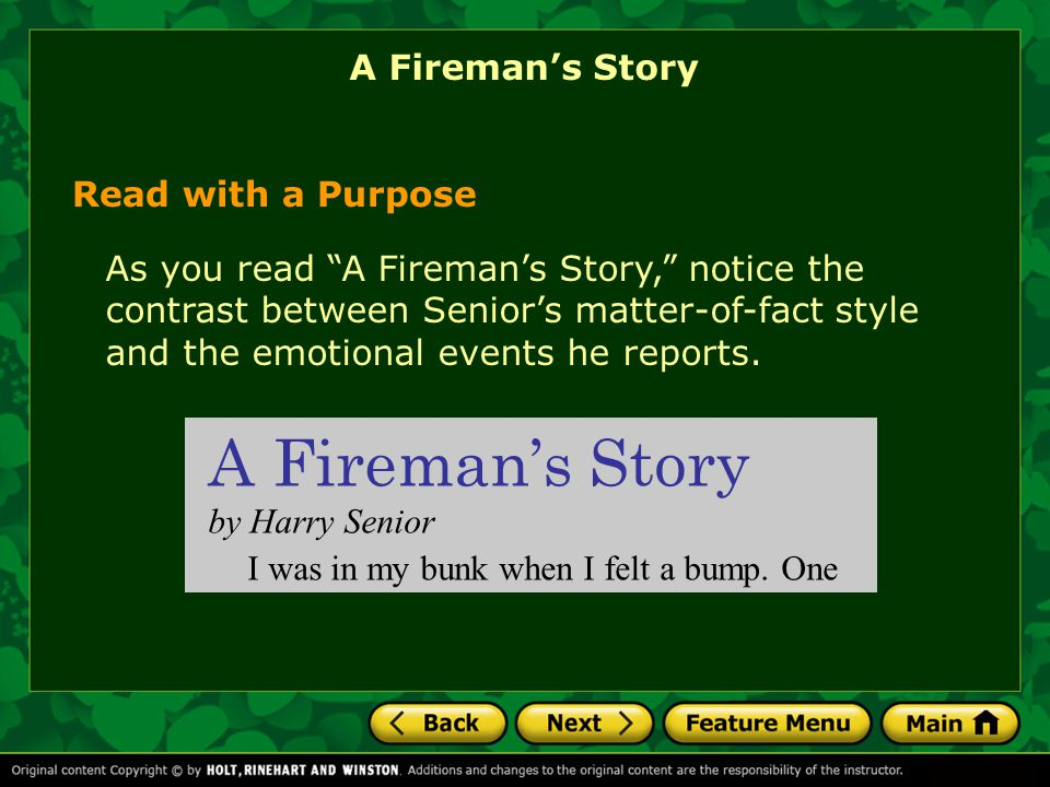 A Fireman's Story A Fireman's Story Read with a Purpose