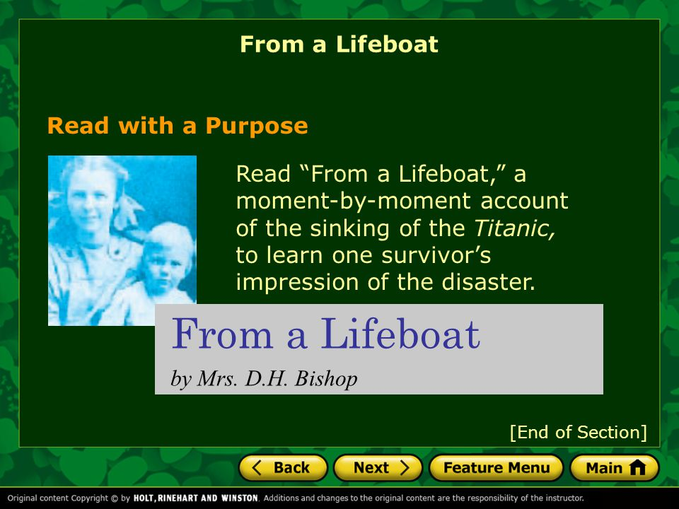 From a Lifeboat From a Lifeboat Read with a Purpose