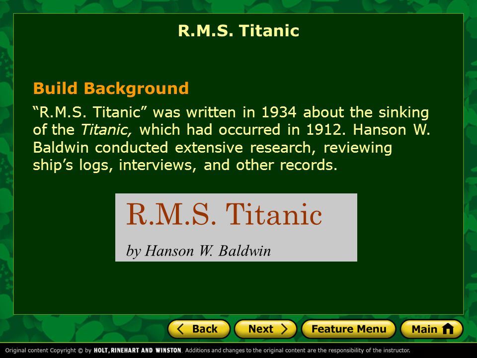 R.M.S. Titanic R.M.S. Titanic Build Background by Hanson W. Baldwin