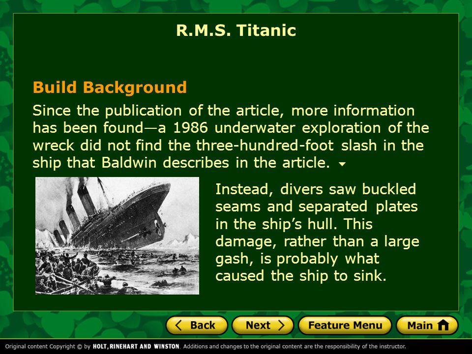 R.M.S. Titanic Build Background