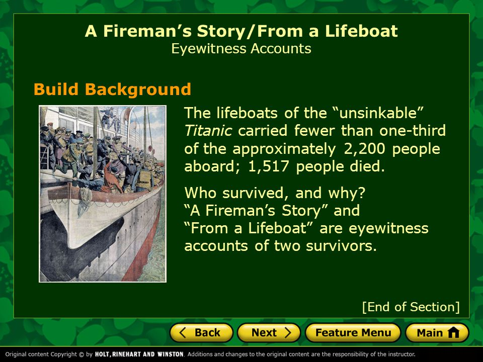 A Fireman's Story/From a Lifeboat