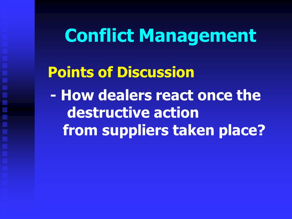 Conflict Management Points of Discussion