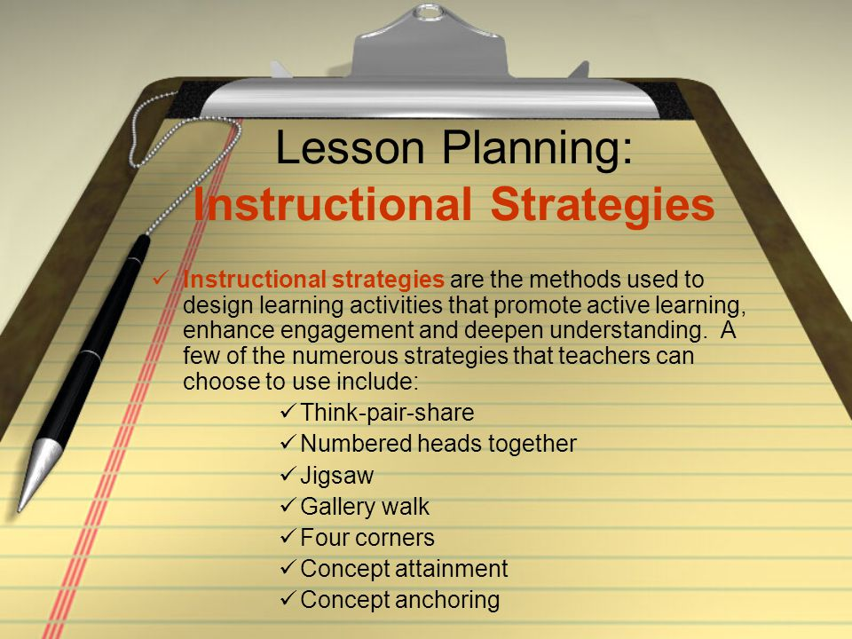 Lesson Planning: Instructional Strategies