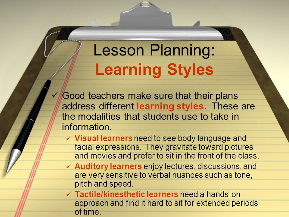 Lesson Planning: Learning Styles