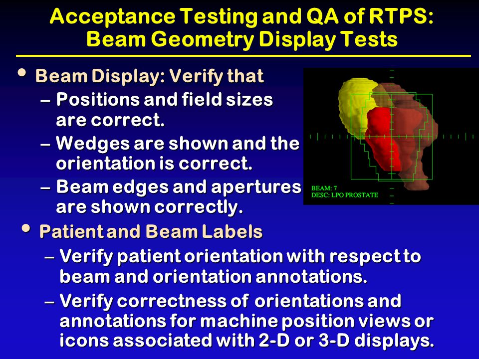 Acceptance Testing and QA of RTPS: Beam Geometry Display Tests