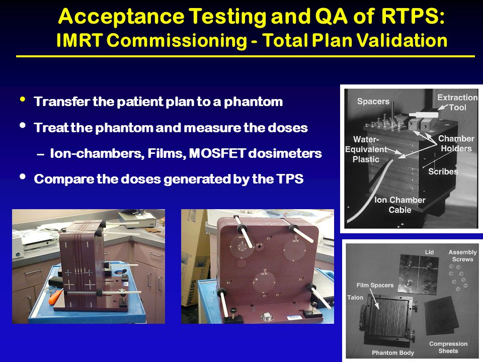 Acceptance Testing and QA of RTPS: IMRT Commissioning - Total Plan Validation