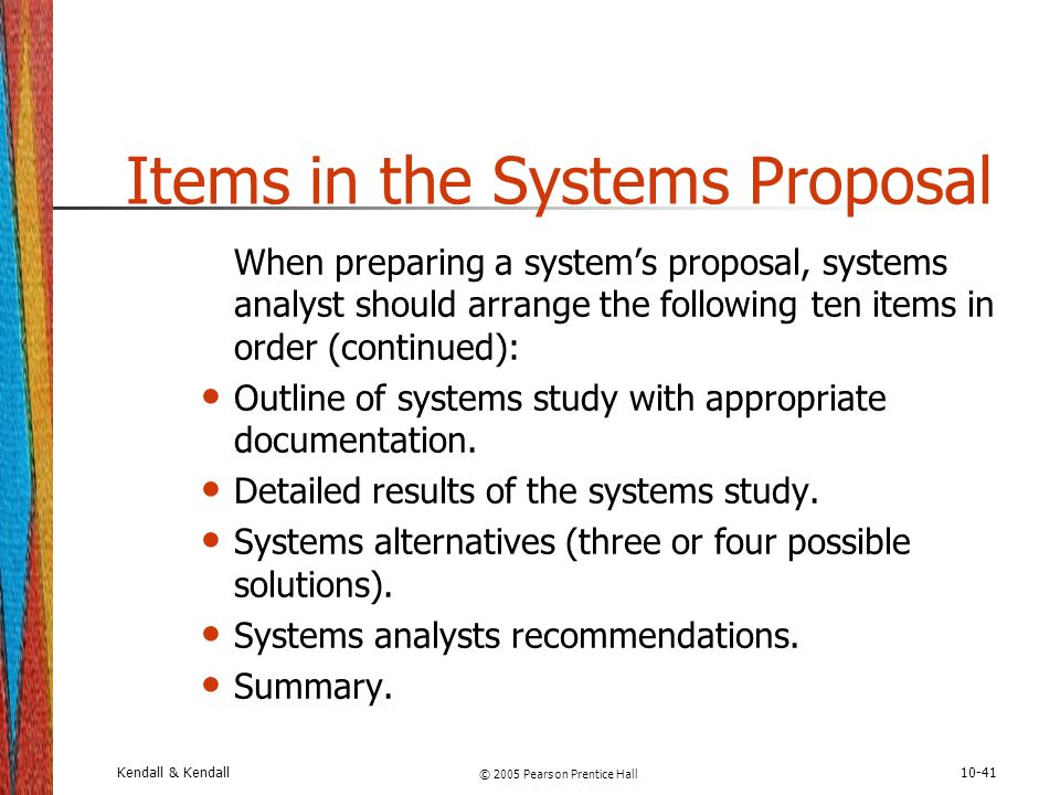 Items in the Systems Proposal