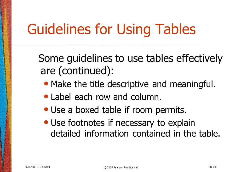 Guidelines for Using Tables