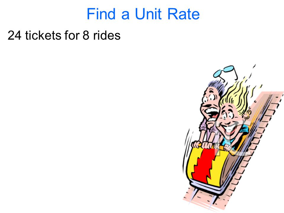 Find a Unit Rate 24 tickets for 8 rides