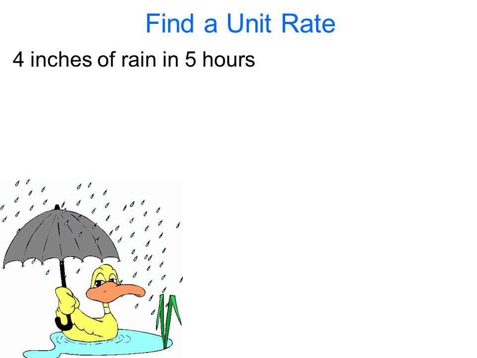 Find a Unit Rate 4 inches of rain in 5 hours