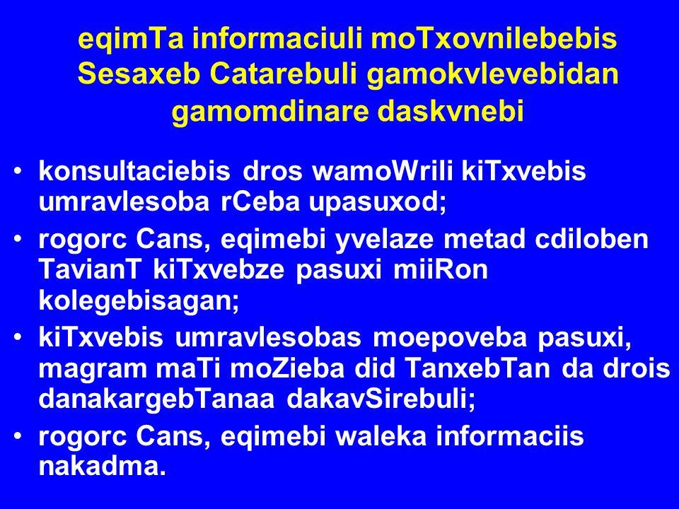 eqimTa informaciuli moTxovnilebebis Sesaxeb Catarebuli gamokvlevebidan gamomdinare daskvnebi