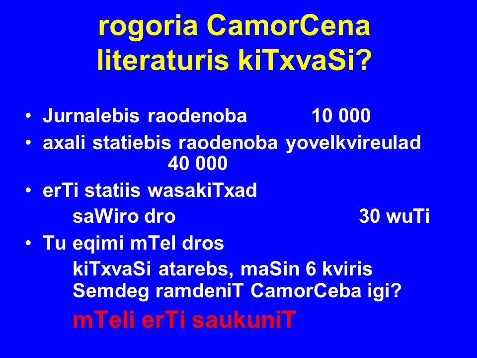 rogoria CamorCena literaturis kiTxvaSi