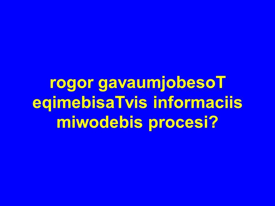 rogor gavaumjobesoT eqimebisaTvis informaciis miwodebis procesi