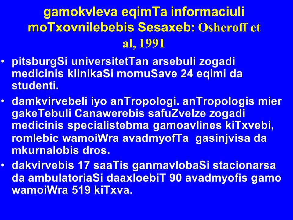 gamokvleva eqimTa informaciuli moTxovnilebebis Sesaxeb: Osheroff et al, 1991
