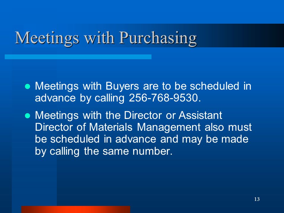 Meetings with Purchasing