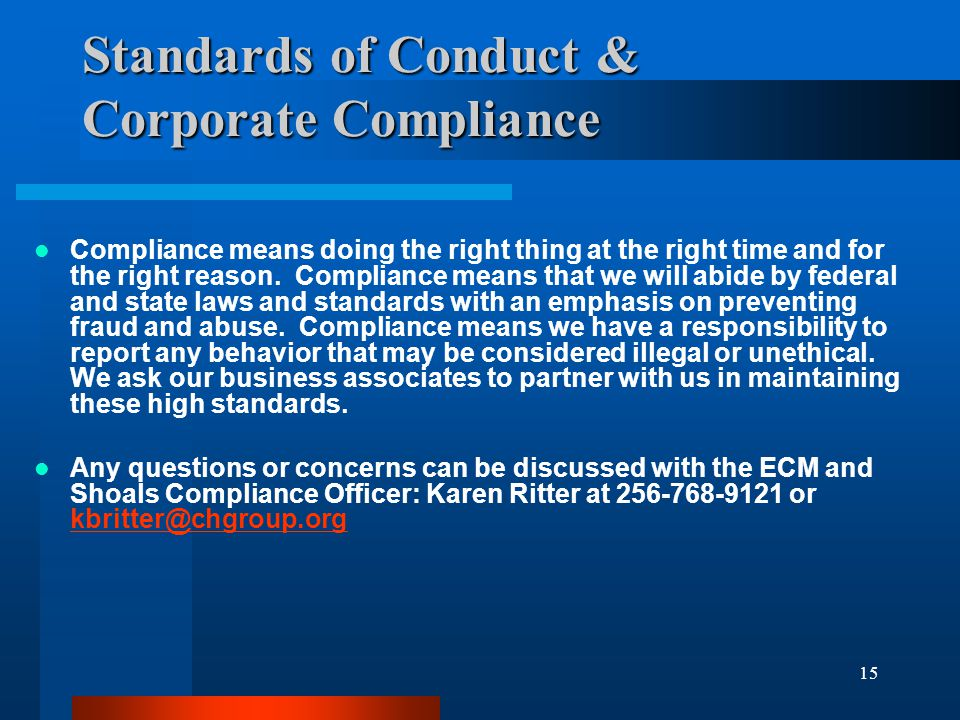 Standards of Conduct & Corporate Compliance