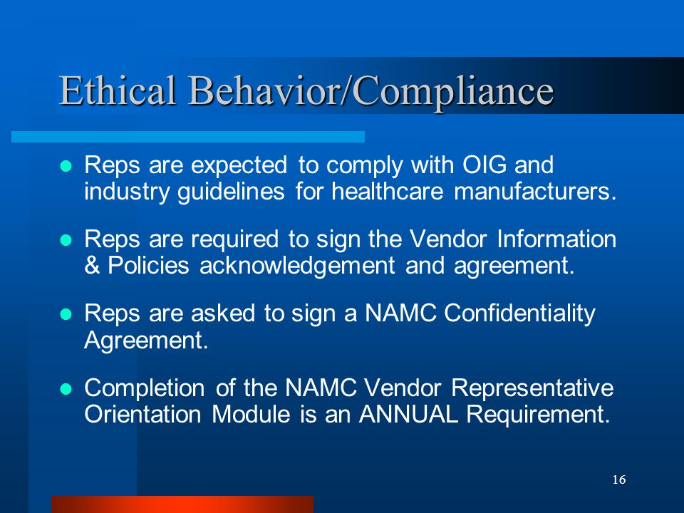 Ethical Behavior/Compliance