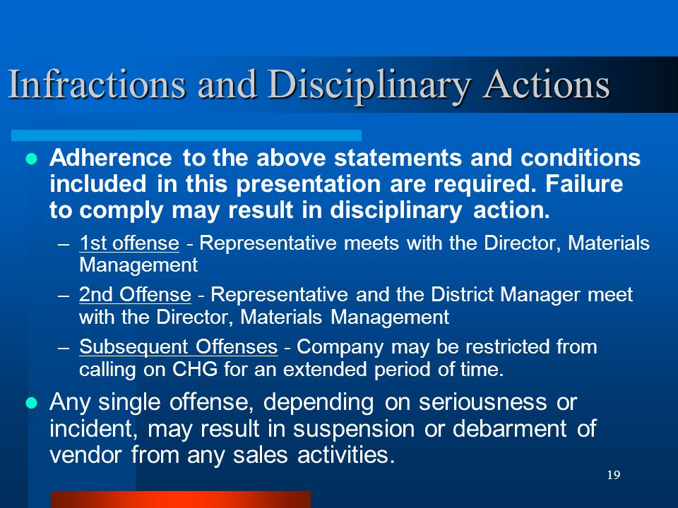 Infractions and Disciplinary Actions