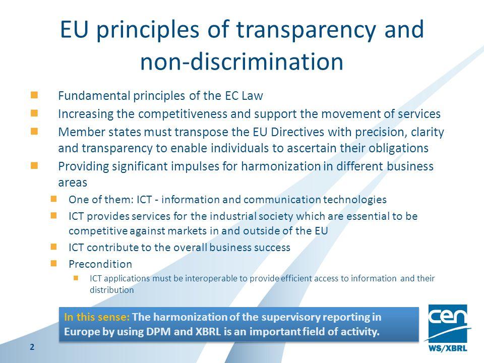 EU principles of transparency and non-discrimination