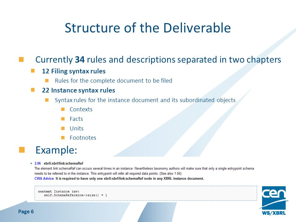 Structure of the Deliverable